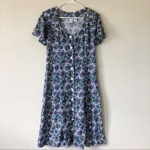 Vintage Purple Floral Mid Length Dress